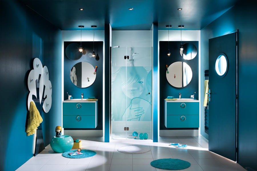 salle de bain peinture bleu canard. Black Bedroom Furniture Sets. Home Design Ideas