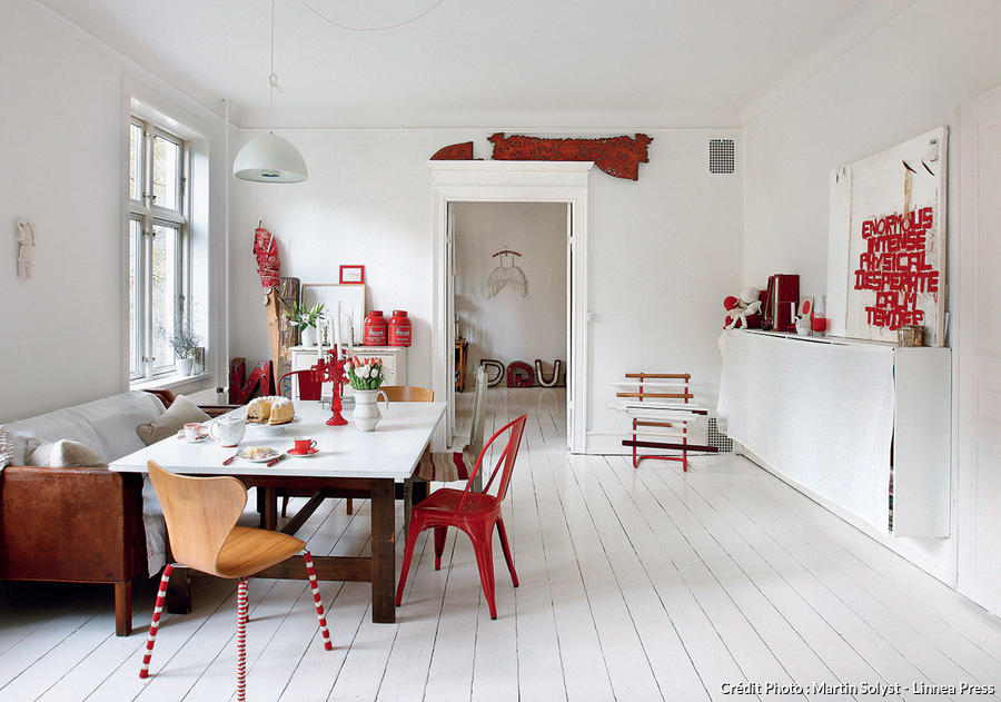 Un Appartement En Rouge Et Blanc  Copenhague  Maison Crative
