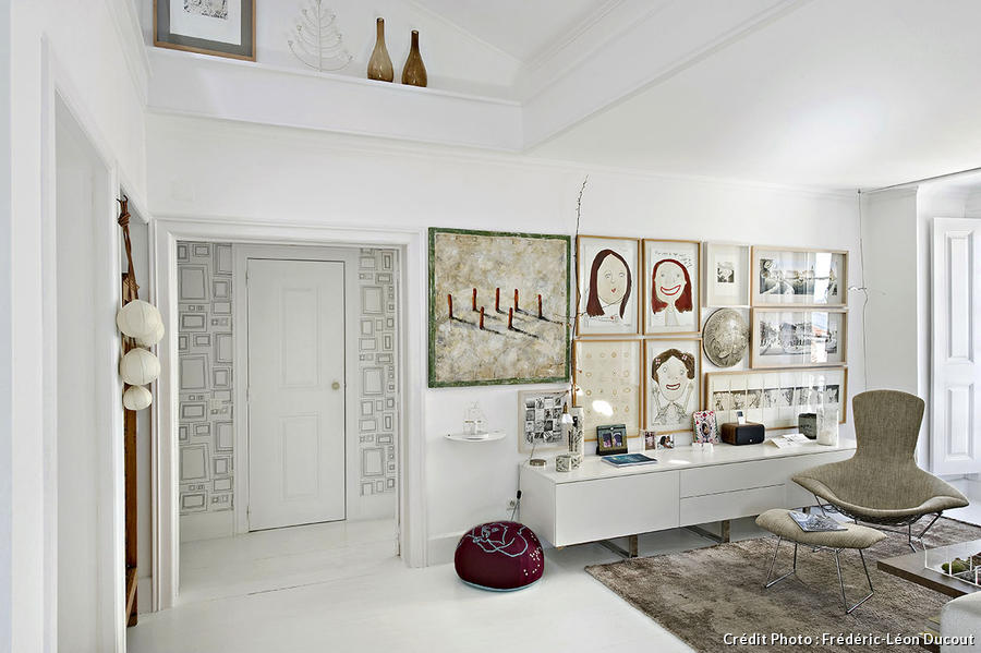 Appartement Lisbonne salon blanc
