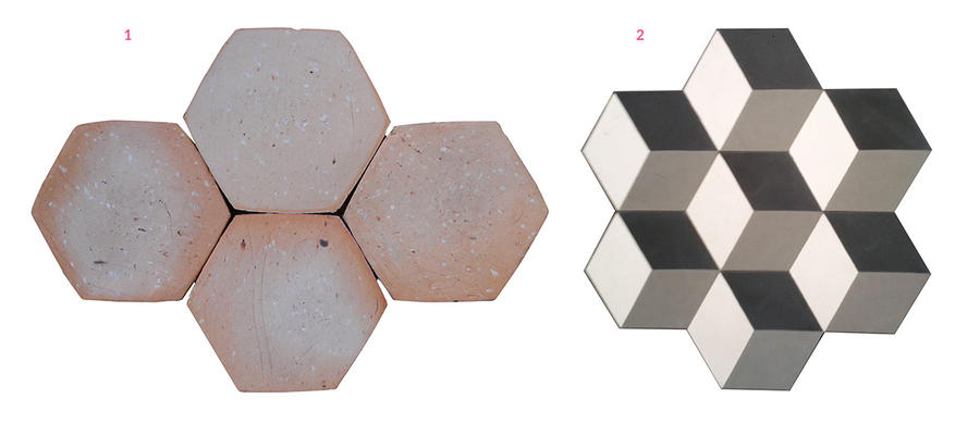 Tomette et carreau de ciment hexagonal