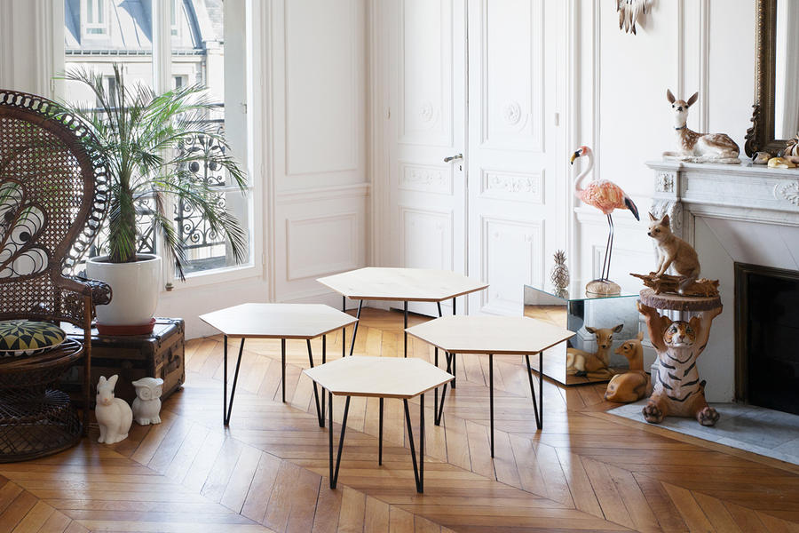 Tables hexagone en bois