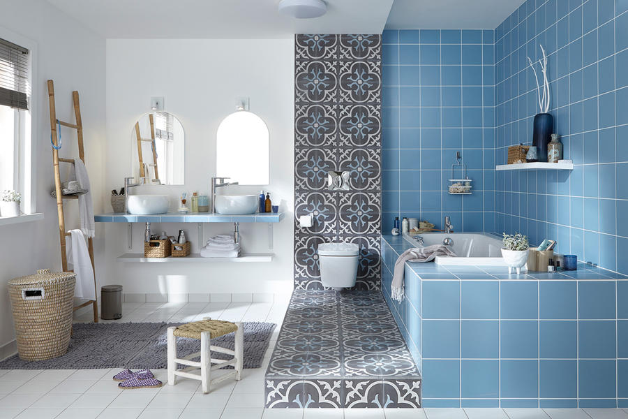 Beautiful Salle De Bain Rose Et Bleu Pictures - House Design ...