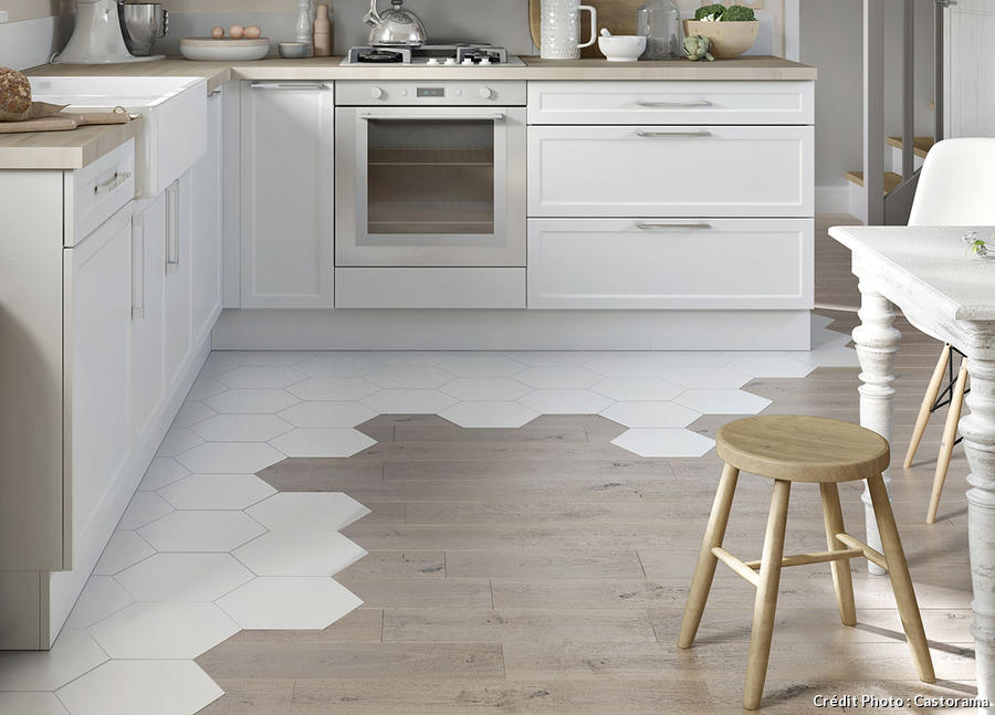 white hexagonal porcelain tiles & gray wash wood planks