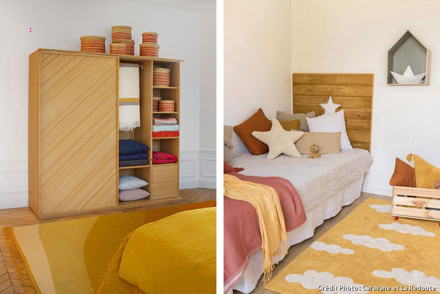Tapis jaune moutarde - chambre