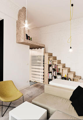 une pi ce suppl mentaire gr ce un cube multifonctions dans un appartement haussmannien. Black Bedroom Furniture Sets. Home Design Ideas